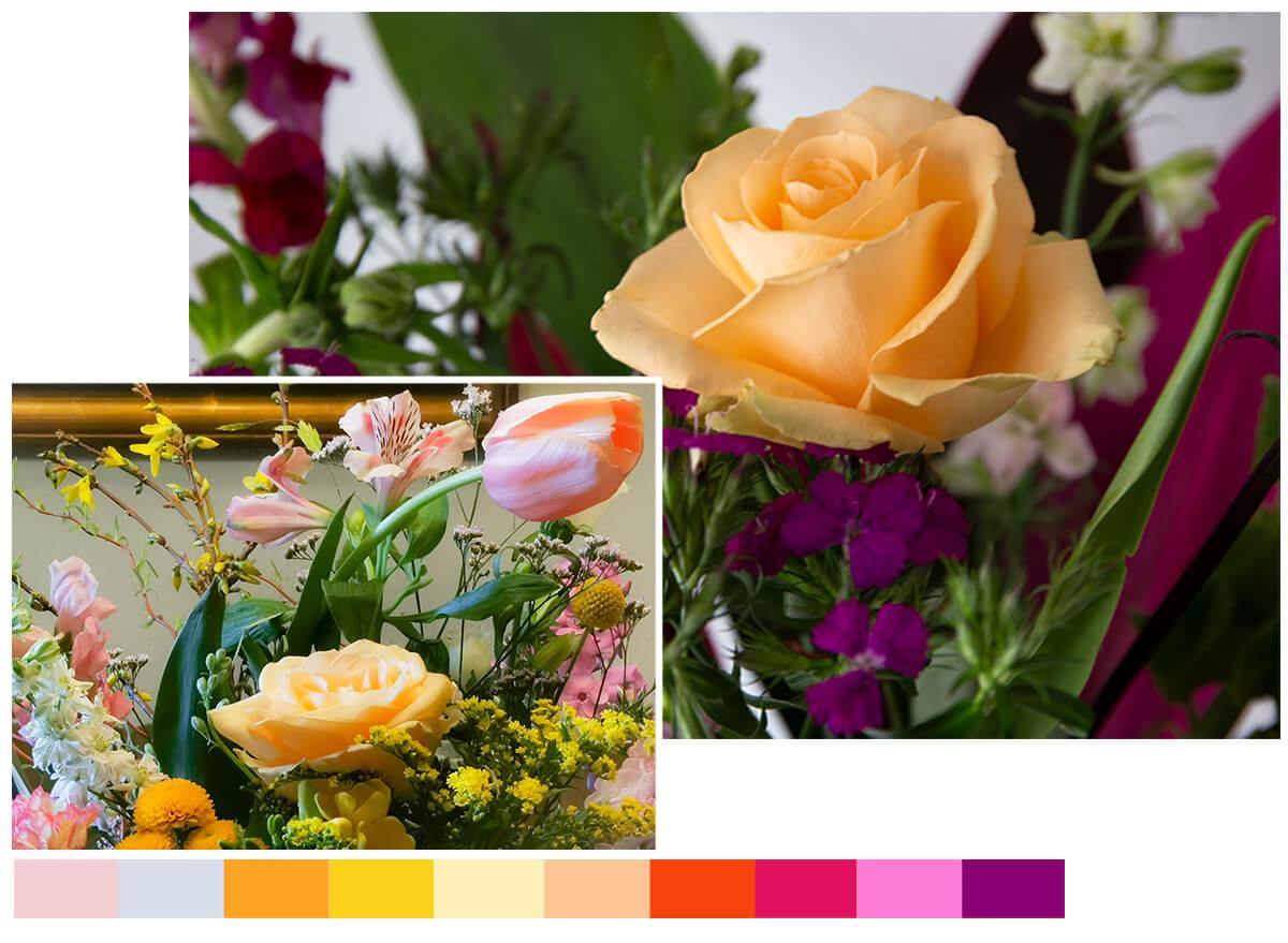 """Die Farben der neuen """"Aufblühen und durchstarten""""-Website: stilgerecht inspiriert von Blumensträußen"""
